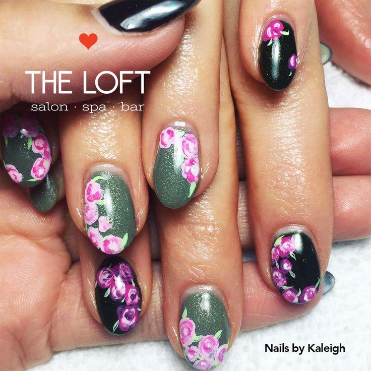 Flowered manicure by Kaleigh at The Loft Salon • Spa • Bar in Winnipeg.