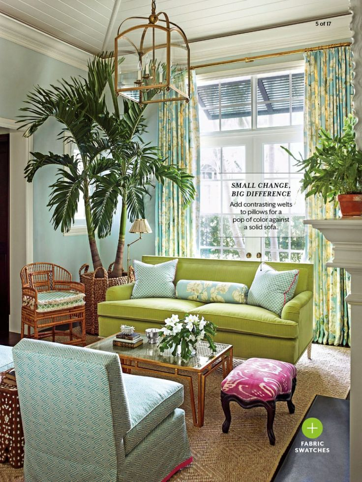 Tropical Living Room.. I just want that tree