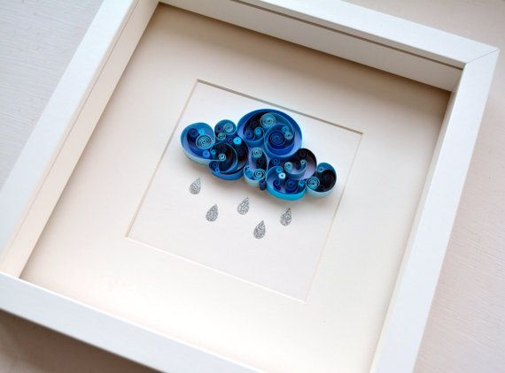 "Quilled paper artwork ""Rain cloud"""
