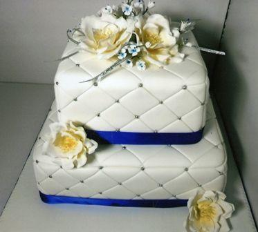 http://sweetpeadesignercakes.wordpress.com/2012/02/25/quilted-wedding-cake/