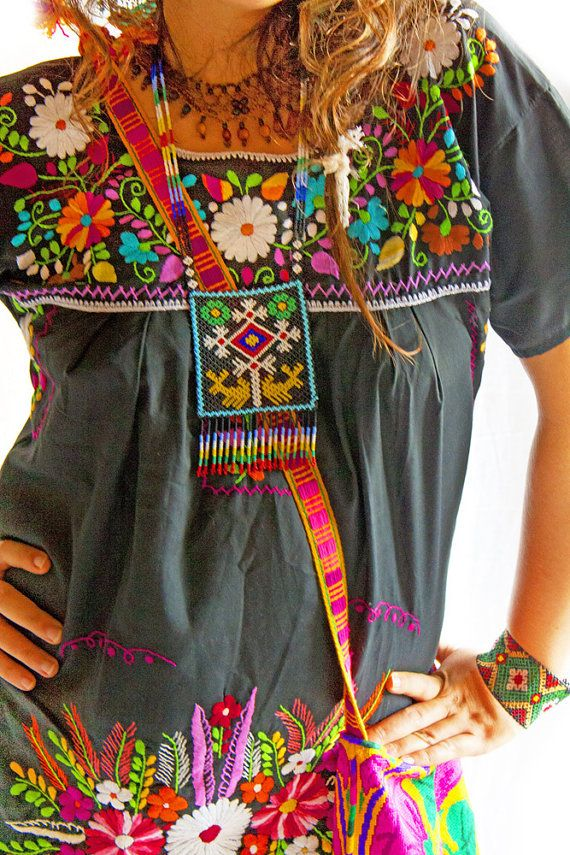Mexican embroidered dress slim fit Obsidian Moon by AidaCoronado, $148.00