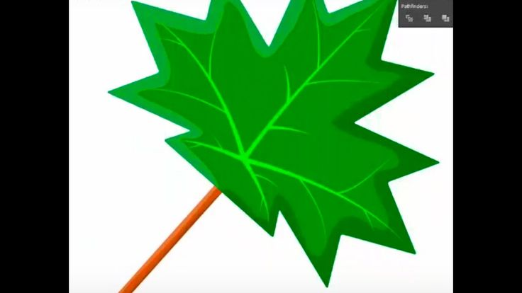 Green maple leaf - Adobe Illustrator tutorial. Quick and easy way how to...
