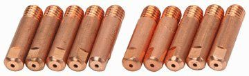 """0.035"""" MIG Welding Tips Pack of 10  MIG welder wire guide for 0.035"""" diameter welding wire  Copper tips with 1/4""""-28 TPI base thread"""