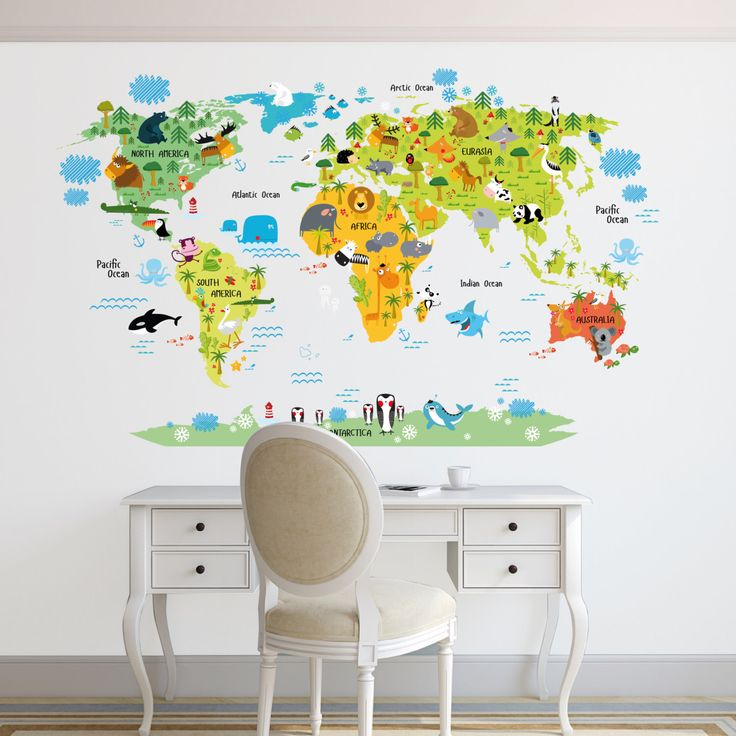New World map decal Kids world map Wall Decal Animals world map decal Removable Weltkarte WandWeltkartenKinderzimmerAbziehbilderDekorideenWohnungWorld