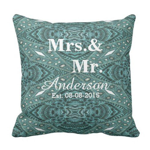rustic turquoise leather country wedding Mr.Mrs. Throw Pillow