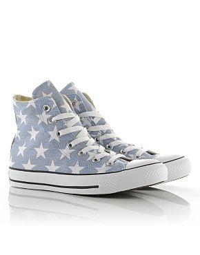 Light grey Converse with  Stars