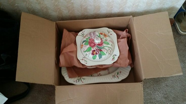 Antique Booth Serving platter, 2 bowls, one with cover