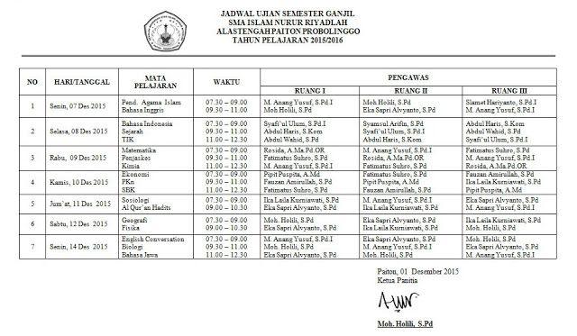 SMA  ISLAM NURUR RIYADLAH: Jadwal Ujian Semester Ganjil 2015
