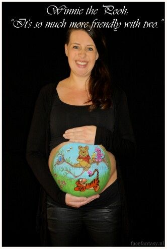 Bellypainting Winnie the Pooh Bellypaint Bellypaintdesign  Made by Face Fantasy  This mummy is expecting her second child.
