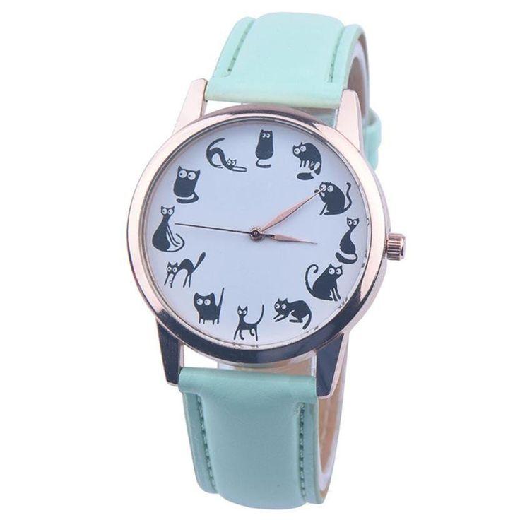 Quartz Cartoon Cat Leather Watch