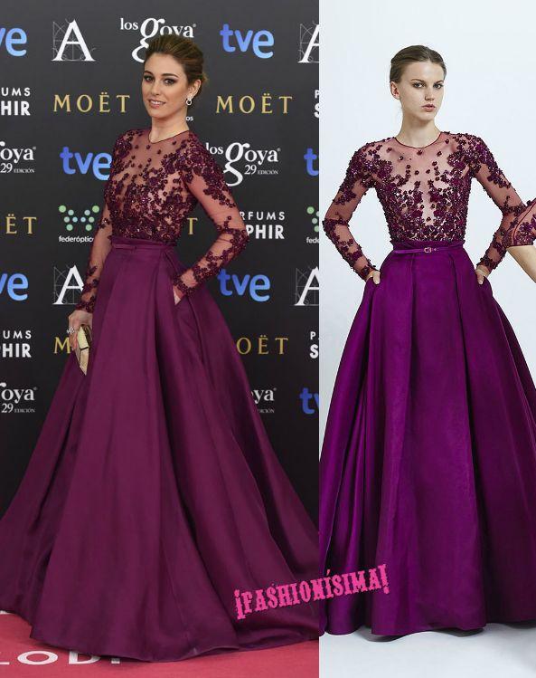 Tal y como os avanzábamos, Clara Lago se ha decantado esta noche por un vestido made in Spain del diseñador Ulises Mérida Primavera/Verano 2015 para desfilar