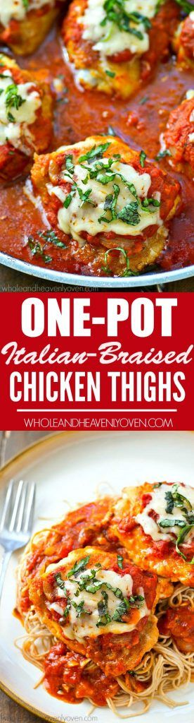 Braised in a flavorful Italian sauce and covered with melty Parmesan cheese, these one-pot chicken thighs are Italian food at it's total best!