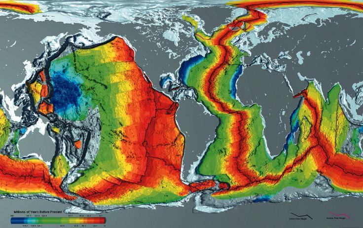 Earth seafloor crust age 1996 - 2 - Seafloor spreading - Wikipedia, the free encyclopedia