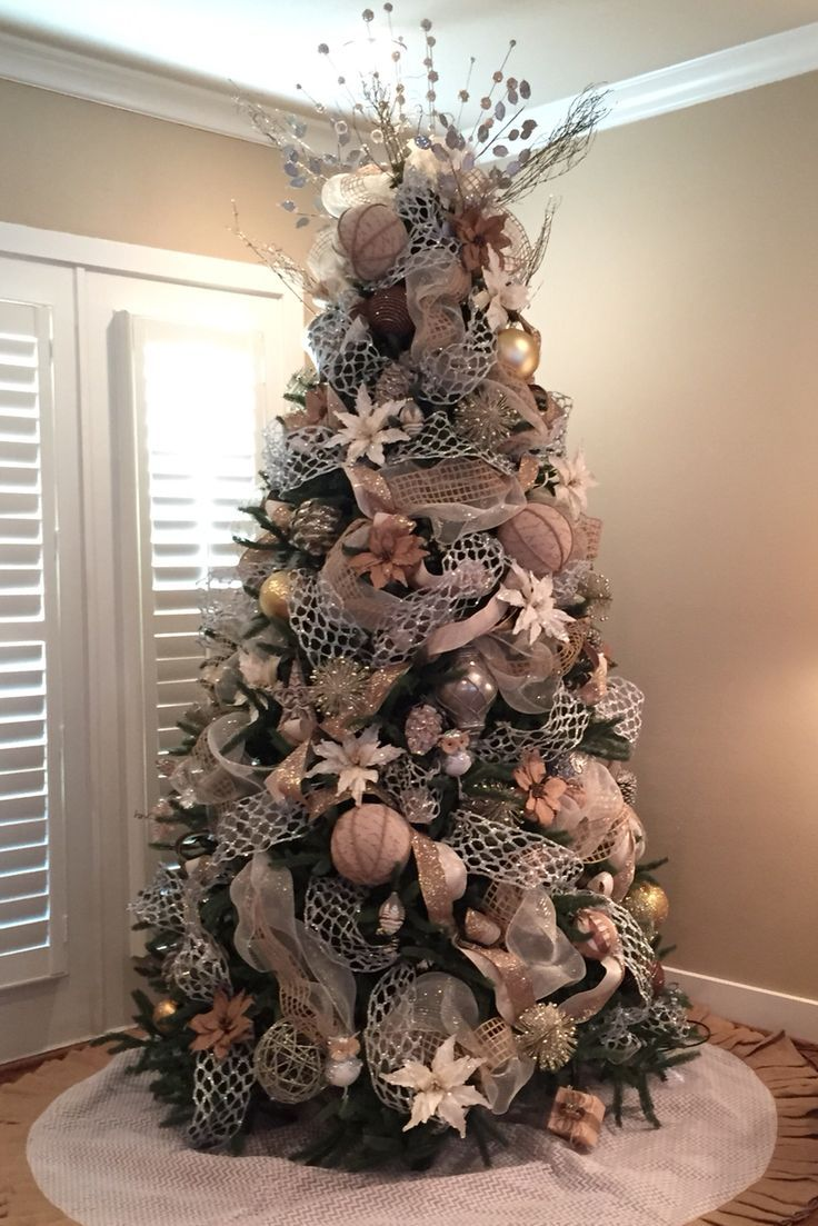Christmas Tree Burlap Silver Gold White: