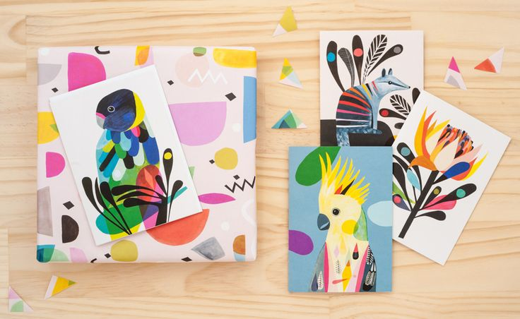 Into The Wild range designed by @inaluxe for Earth Greetings AW2016 #recycled #earthfriendlygreetingcards #australianmadegreetingcards #ecofriendlycards #inaluxe #wrappingpaper #bird #earthgreetings #waratah #numbat