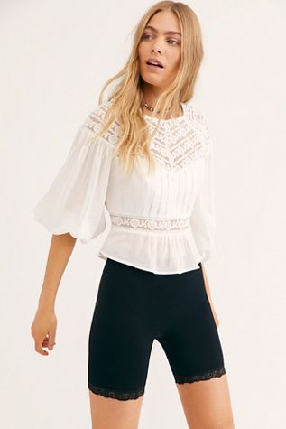 8c7895e38061b9 Sweet Mornings Top - Lace Top Short Sleeve Top with Billow Sleeves - Flowy  White Lace