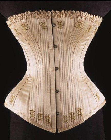 Victorian Corset, 1890. This is an example of a historical corset. This corset is very detailed but it could be worn underneath or on top of clothing. It would most likely be worn with a dress in the victorian era. It is similar that it had design detail added such as the embroidery and trim on top. They are a different shape than the modern corset we saw. Cassidy Brewer 4/10/16