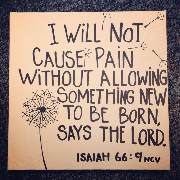 I will not cause pain without allowing something new to be born say The Lord Isaiah 66.9 9 Shall I bring to the birth, and not cause to bring forth? saith the Lord: shall I cause to bring forth, and shut the womb? saith thy God.