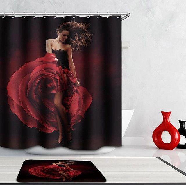 High Quality 3D Eye girl Shower Curtain Waterproof Bathroom Curtain Polyester cortina ducha with Hooks curtains for bath room