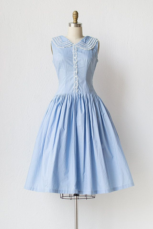 Vintage 1950s Light Blue Dress With Ruffle Collar Plain