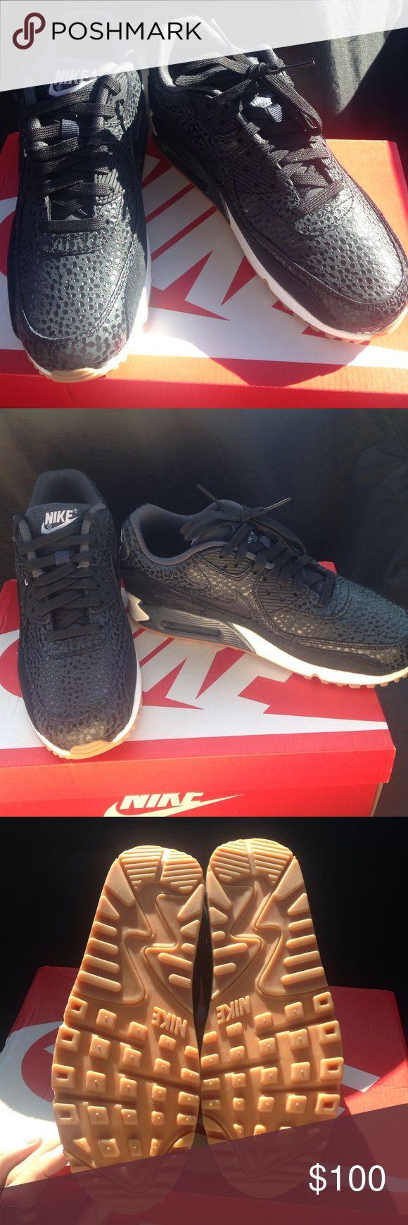 Nike Air Max 90 Black on black leopard print. White and tan sole. NWT