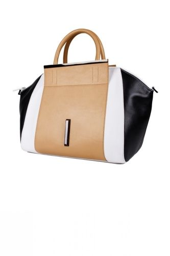 BIRDY TOTE from RAOUL Multi colored tote in tan, white and black with top handles and metallic detail.