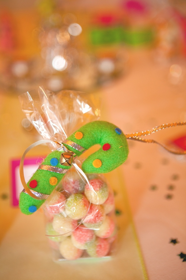 Candy cane sweet treats, perfect for favours or gifts.  Filled with rosey apples.  £5.99 from www.fuschiadesigns.co.uk.