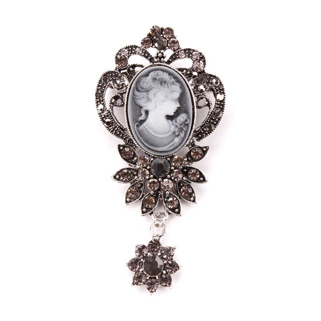 Crystal Flower Pendant Cameo Brooch Pins in antique gold or antique silver plated