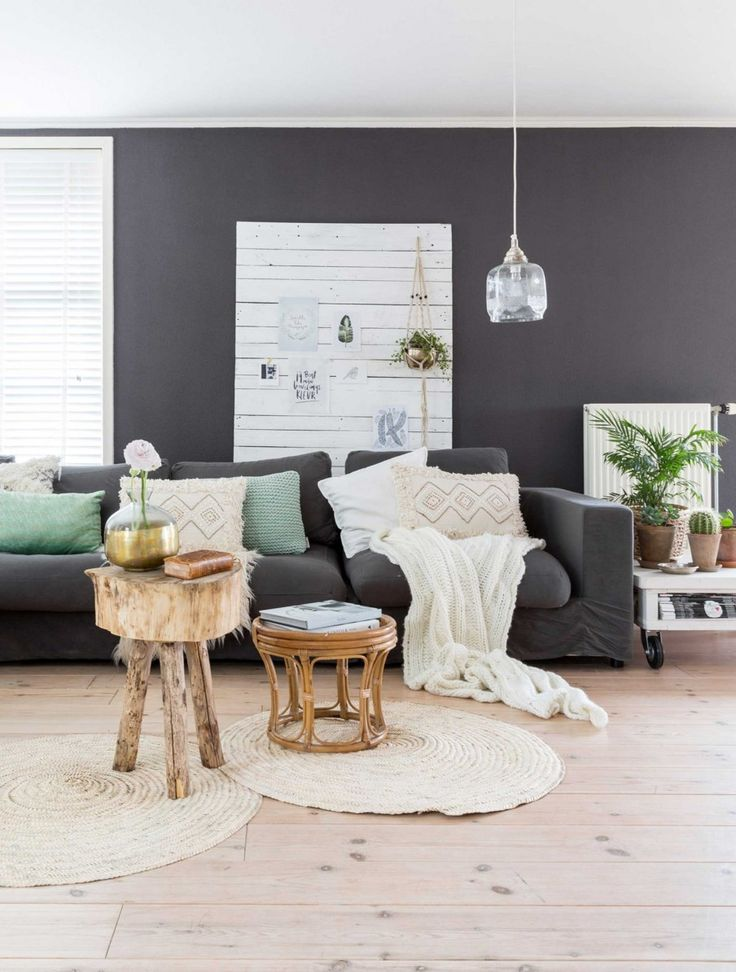Dark grey living room in a Dutch country home