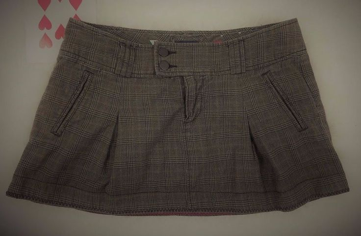American Eagle Outfitters Womens Plaid Pleated Mini School Skirt Brown Gray 8 #AmericanEagleOutfitters #Pleated #Casual