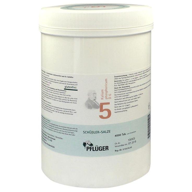 BIOCHEMIE Pflueger 5 Kalium phosphoricum D 6 Tabletten:   Packungsinhalt: 4000 St Tabletten PZN: 06319263 Hersteller: A.Pflüger GmbH &…
