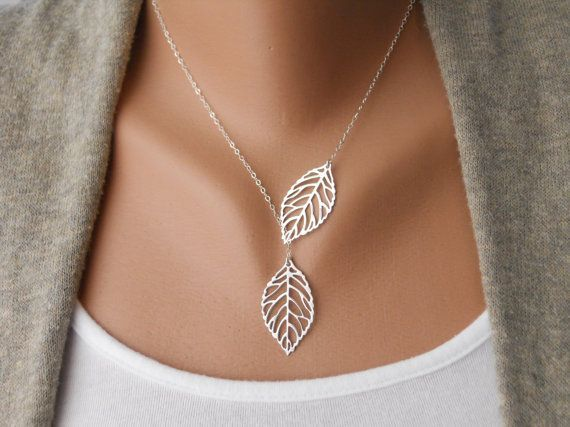 SALE - Leaf Lariat in silver - Silver Jewelry - Modern Dainty - Lovely - Gift For - Lariat Necklace - Silver Jewelry - The Lovely Raindrop