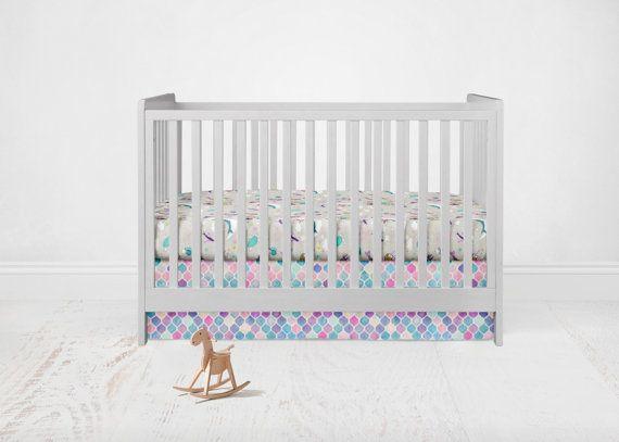 Straight Crib Skirt Mermaid. Pink Crib Skirt. Baby by SuiteBaby