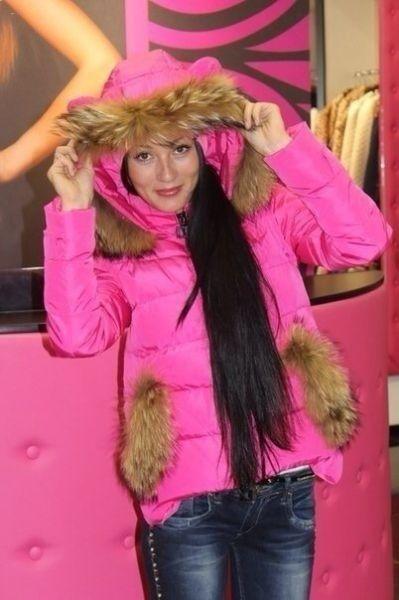 Зимний пуховик короткий Ушки розовый