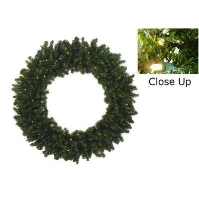 """Darice Pre-Lit Battery Operated Canadian Pine Artificial Christmas Wreath Size: 30"""" H x 30"""" W, Light Color: Clear"""