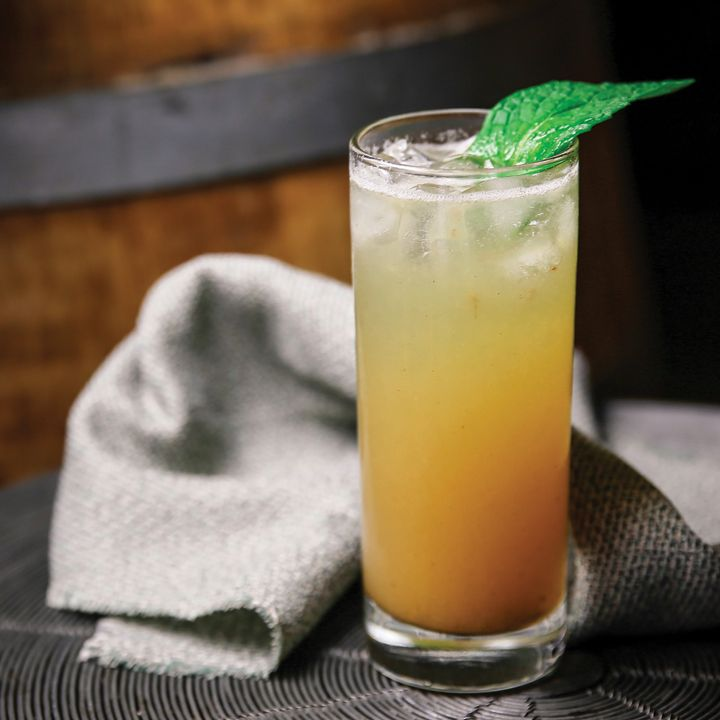 SALTY GINGER-ADE Start the year out right with a refreshing mocktail.  1 pitted Medjool date Pinch Fine sea salt Pinch Ground cumin 1 ounce Lime juice 6 ounces High quality ginger beer