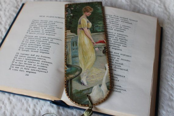 Wooden Bookmark, Decoupage Bookmark, Vintage Bookmark, stationary items, unique gift, Bookmark lady, book, green, gold