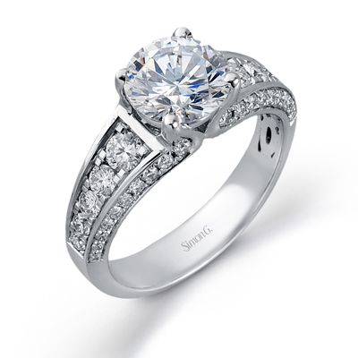 Runway Collection - This gorgeous 18K white engagement ring is comprised of .83ctw round white Diamonds. - MR2172