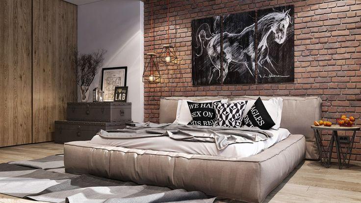 """Кирпичная стена в интерьере спальни """"Andrew"""""""