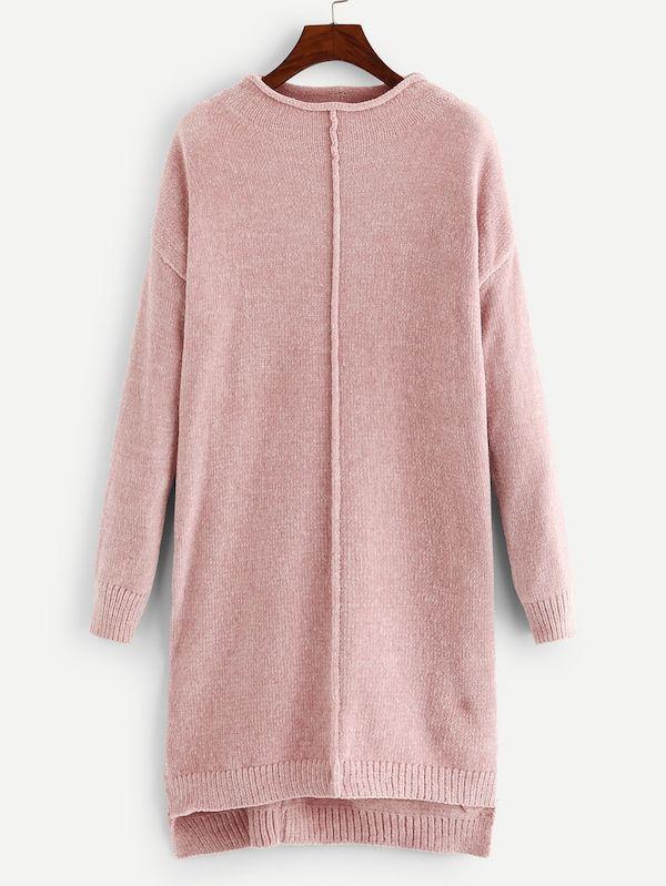 e63d9d78a5b  22 Solid Drop Shoulder Step Hem Chenille Sweater Dress -SheIn(Sheinside)
