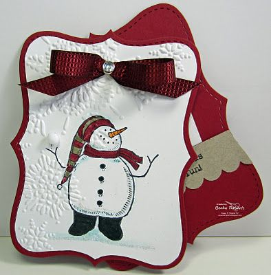 So darn cute! Love the shape of it. Stampin' Up! Snow Much Fun with Big Shot Northern Flurry folder and Top Note Bigz.