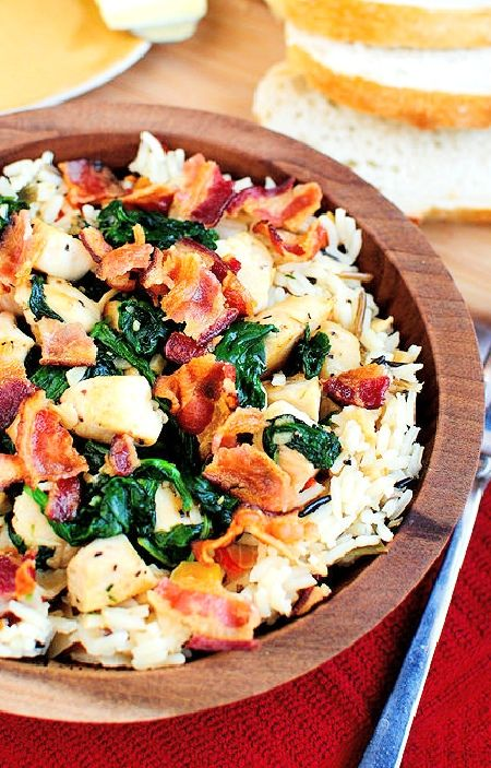 Low FODMAP Recipe and Gluten Free Recipe - Chicken and smoked bacon rice  ---  http://www.ibs-health.com/low_fodmap_chicken_smoked_bacon_rice.html