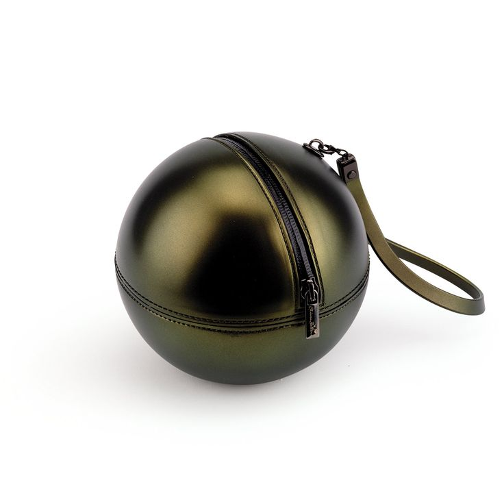 """Rock'n'Ball"" sphere handbag, gold plated with PVC handle"