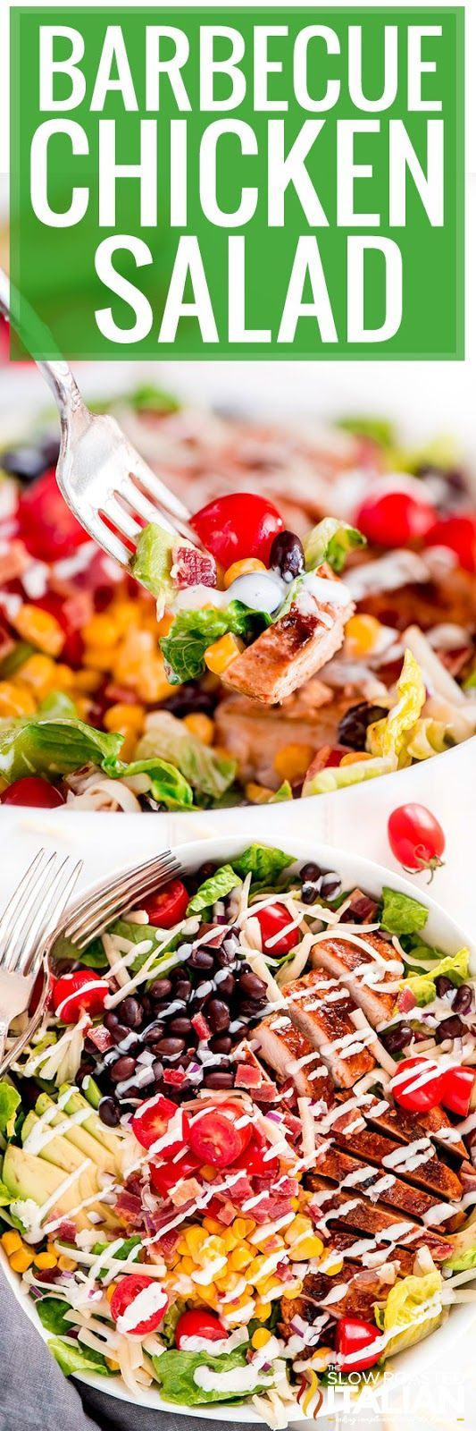 Our Barbecue Chicken Salad recipe is crisp and refreshing and loaded with all your favorite barbecue fixin's. It takes just 25 minutes to throw together! #theslowroasteditalian #tsri #chickensalad #potluckrecipe #chickenrecipe