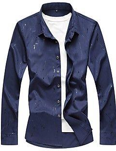 Masculino+Camisa+Social+Casual+Tamanhos+Grandes+Simples+Outono,Estampado+Algodão+Poliéster+Decote+Quadrado+Manga+Longa+Média+–+BRL+R$+56,96