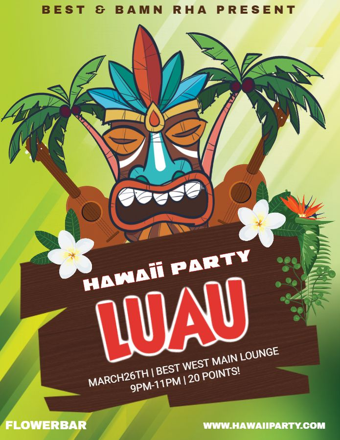 hawaii party invitation luau flyer poster template luau party