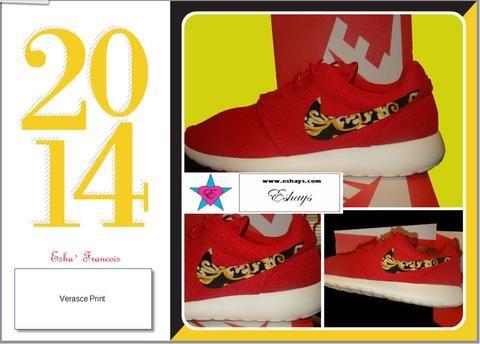 Custom Roshe Run- Gold Floral Red Nike Roshe Run Women/ Men/ Kids