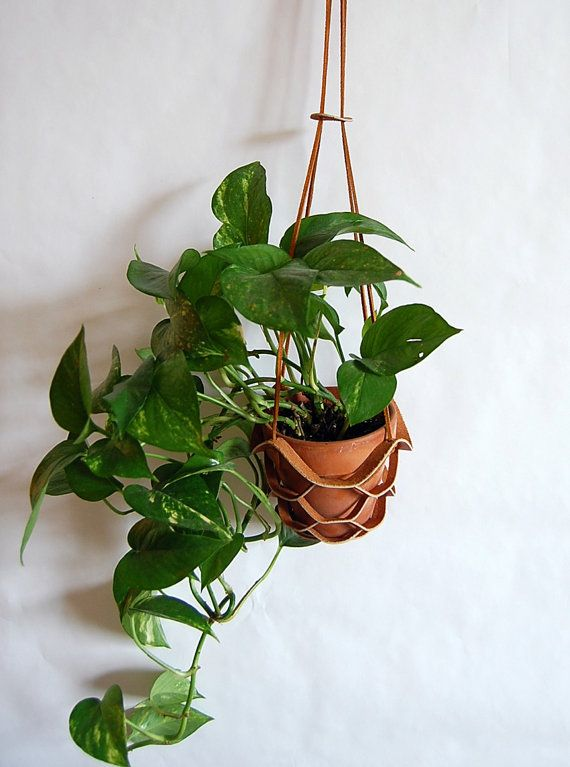 ... www.etsy.com/listing/156256690/leather-hanging-plant-holder-in-brown