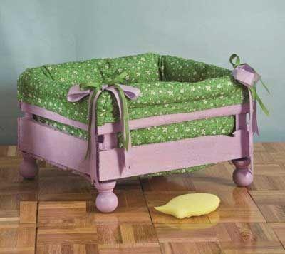 Cama para mascotas con cajón de verduras y tela acolchada