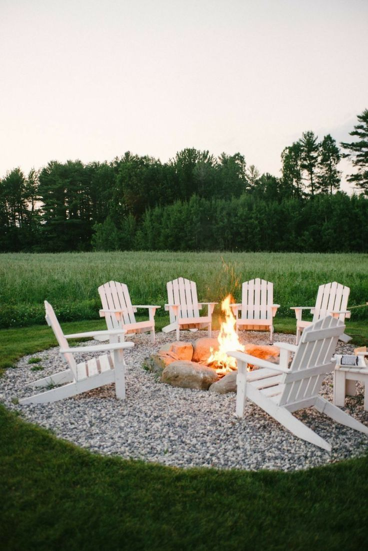Outdoor Fire Pit Outdoor Entertainment Rocks Chairs Adirondack Chairs White Chairs Entertainment Outdoor Living Backyard Fire Backyard Backyard Makeover